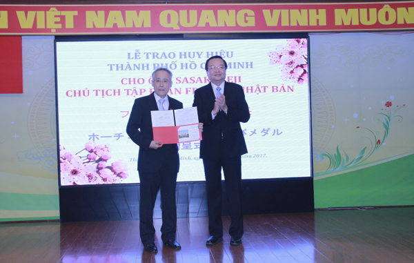 Chairman of Freesia Corporation - Japan received the Honor Medal of Ho Chi Minh City