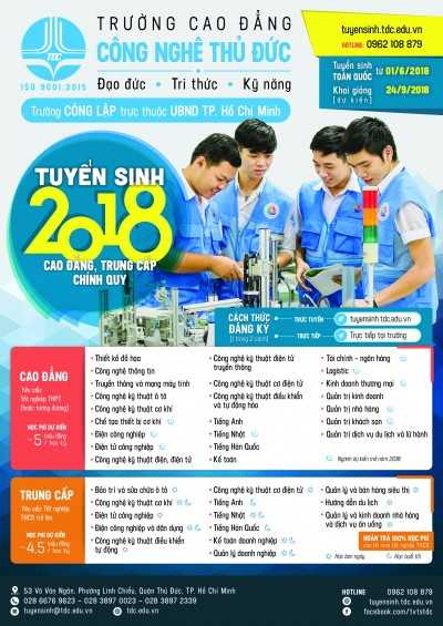 Thu Duc College of Technology expanding training majors as from the academic year 2018 – 2019